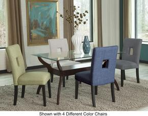 Andenne Collection 10650SET3 5-Piece Dining Room Set Dining Table and 4 Chairs in Green Fabric Upholstery