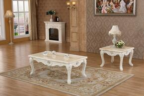 Venice 238CE 2 PC Living Room Set with Coffee Table + End Table in White Finish