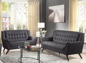 511034 Baby Natalia Collection Mid-Century Modern Sofa and Love Seat in Black Fabric Upholstery