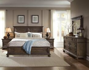 Hamilton S0242505100SET 5 PC Bedroom Set with Queen Size Panel Bed + Dresser + Mirror + 2 Nightstands in Oak Finish