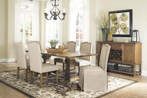 Parkins 103711SETB 8 PC Dining Room Set with Table + Server + 4 Parson Chairs + 2 Parson Chairs with Skirt in Coffee Color