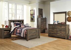 Trinell Twin Bedroom Set with Bookcase Bed, Dresser, Mirror, 2 Nightstands and Chest in Brown