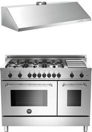 "Bertazzoni Stainless Steel 2-Piece Kitchen Package With PRO486GDFSXLP 48"" Professional Series Dual Fuel Freestanding Range and Free KU48PRO1X 48"" Professional Wall-Mount Hood"