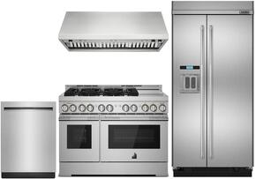 "4-Piece Kitchen Package with JS48PPDUDE 48"" Built In Side by Side Refrigerator, JGRP548WP 48"" Freestanding Gas Range, JXW9048WP 48"" Wall Mount Ducted Hood, and JDTSS244GP 24"" Built In Dishwasher in Stainless Steel"