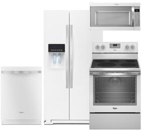 "4-Piece White Ice Kitchen Package with WRS586FIEH 36"" Side-by-Side Refrigerator, WFE540H0EH 30"" Freestanding Electric Range, WDT720PADH 24"" Fully Integrated Dishwasher and WMH53520CH 30"" Over the Range Microwave"