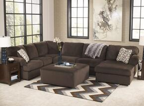 Jessa Place 39804-08-17-34-66 2-Piece Living Room Set with Sectional Sofa and Oversized Accent Ottoman in Chocolate