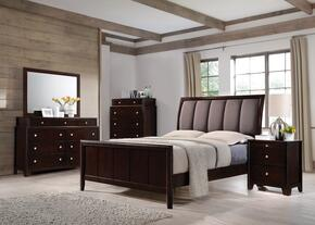 Madison Collection 204881Q 4-Piece Bedroom Set with Queen Bed, Night Stand, Dresser and Mirror in Dark Merlot Finish