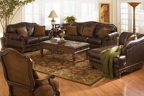North Shore 22603SLACCHCTETST2L 9-Piece Living Room Set with Sofa, Loveseat, Accent Chair, Chaise, Cocktail Table, End Table, Sofa Table and 2 Lamps in Dark Brown