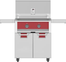 "30"" Liquid Propane Grill with ECD30RD Tower Grill Cart with Two Doors, in Burgundy Red"