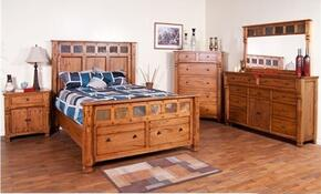 Sedona Collection 2322ROKBDMN 4-Piece Bedroom Set with King Bed, Dresser, Mirror and Nightstand in Rustic Oak Finish