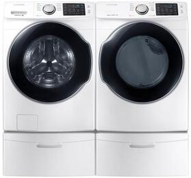 "Front Load Laundry Pair with WF45M5500AW 27"" Front Load Washer and DVE45M5500W 27"" Electric Dryer and WE357A0W X2 Pedestals in White"