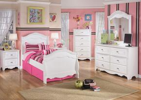 Exquisite Twin Bedroom Set with Sleigh Bed, Dresser, Mirror and Nightstand in White