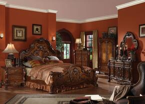 12134CKBDMN Dresden Traditional Bed + Dresser + Mirror + 2 Nightstands in Cherry Oak, California King Size