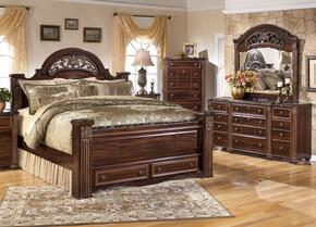 Gabriela King Bedroom Set with Poster Storage Bed, Dresser, Mirror and Chest in Dark Reddish Brown