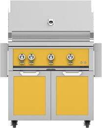 """36"""" Freestanding Natural Gas Grill with GCD36YW Tower Grill Cart with Double Doors, in Sol Yello"""