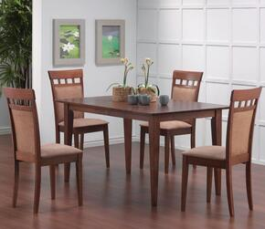 Gabriel 101771SETB 5 PC Dining Room Set with Dining Table + 4 Side Chairs in Walnut Finish
