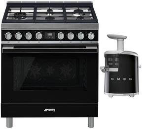 "2-Piece Black Kitchen Package with CPF36UGMBL 36"" Freestanding Dual Fuel Range and SJF01BLUS 7"" Slow Juicer"