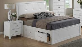 G1275BKSBN 2 Piece Set including King Size Bed and Nightstand  in White