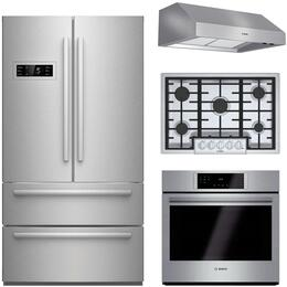 "4-Piece Stainless Steel Kitchen Package with B21CL80SNS 36"" French Door Refrigerator, NGM8055UC 31"" Gas Cooktop, HBL8451UC 30"" Single Wall Oven, and DPH30652UC 30"" Under Cabinet Hood"