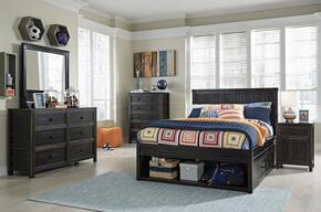 Jaysom Full Bedroom Set with Storage Bed, Dresser, Mirror, Nightstand and Chest in Black