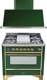 "2-Piece Emerald Green Kitchen Package with UM90FDMPVS 36"" Freestanding Dual Fuel Range (Brass Trim, 4 Burners, Griddle) and UAM90VS 36"" Wall Mount Range Hood"