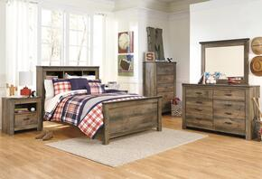 Becker Collection Full Bedroom Set with Bookcase Bed, Dresser, Mirror, Nightstand and Chest in Brown