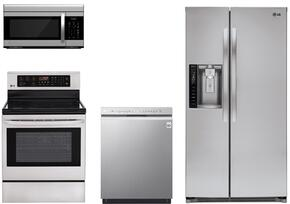 "4 Piece Kitchen package With LRE3083ST 30"" Electric Range, LMV1683ST Over The Range Microwave Oven, LSXS26326S 36"" Side By Side Refrigerator and LDF5545ST 24"" Built In Dishwasher In Stainless Steel"