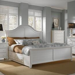 Mirren Harbor Collection 6 Piece Bedroom Set With California King Size Panel Bed + 2 Nightstands + Dresser + Drawer Chest + Mirror: White