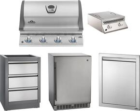 "5-Piece Stainless Steel Outdoor Package with BILEX485PSS1 29"" Liquid Propane Grill, Side Burner, Outdoor Refrigerator, Access Door, and Storage Drawer"