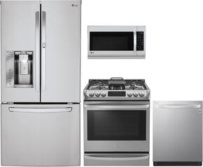 "4-Piece Kitchen Package with LFXS30726S 33"" French Door Refrigerator, LG LSG4513ST 30"" Gas Range, LMH2235ST 30"" Microwave Oven and LDT5665ST 24"" Built in Dishwasher in Stainless Steel"