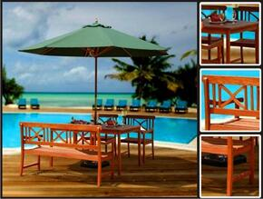 V98SET1 Outdoor Wood Balthazar Rectangular Table, a V100 Outdoor Wood Bench and 2 V99 Outdoor Wood Armchairs