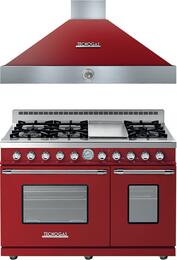 "Deco 2-Piece Red with Chrome Accent Kitchen Package with RD482GCRC 48"" Freestanding Gas Range and HD481ACRC 48"" Wall Mount Range Hood"