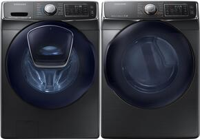 "Black Stainless Steel Front-Load Laundry Pair with WF50K7500AV 27"" Washer and DV50K7500EV 27"" Electric Dryer"