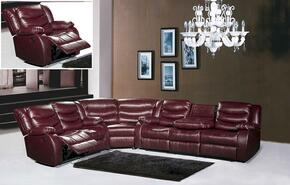 Gramercy Collection 644-BURG-S-L-C-W 4 Piece Living Room Set with Sectional Sofa + Reclining Loveseat, Reclining Chair and Wedge in Burgundy
