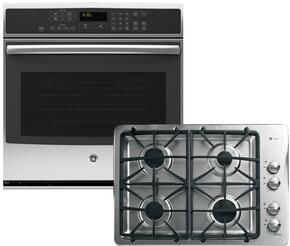 """2-Piece Stainless Steel Kitchen Package with PT7050SFSS 30"""" Single Oven and PGP943SETSS 30"""" Gas Cooktop"""