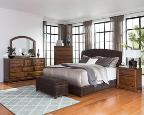 Laughton 300500KESET 6 PC Bedroom Set with Eastern King Size Panel Bed + Dresser + Mirror + Chest + Nightstand + Trunk in Dark Brown Color