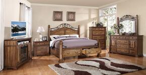 ZBCL700K6PC Barclay 6 PC Bedroom Set with Bed + Dresser + Mirror + Chest + Nightstand + Fireplace Media Center in Rustic Acacia
