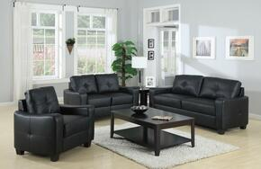 Jasmine 502721SET 3 PC Living Room Set with Sofa + Loveseat + Armchair in Black Color