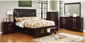 Balfour Collection CM7385QSBDMCN 5-Piece Bedroom Set with Queen Storage Bed, Dresser, Mirror, Chest and Nightstand in Brown Cherry Finish