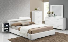 Manjot 20420Q4PC Bedroom Set with Queen Size Bed with Attached Nightstand + Dresser + Mirror + Chest in White Color