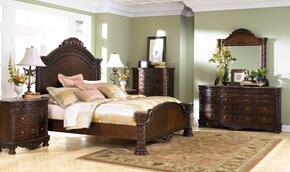 North Shore Collection 4-Piece Bedroom Set with Queen Panel Bed, Dresser, Mirror and Nightstand in Dark Brown
