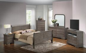 G3105AFBSET 6 PC Bedroom set with Full Size Sleigh Bed + Dresser + Mirror + Chest + Nightstand + Media Chest in Grey Finish