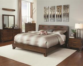 Yorkshire Collection 204851Q4PC 4-Piece Bedroom Set with Queen Bed, Night Stand, Dresser and Mirror in Dark Amber & Co