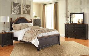 Maxington Queen Bedroom Set with Panel Bed, Dresser, Mirror, Single Nightstand and Chest in Brown