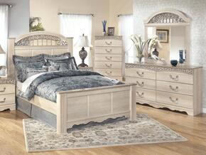 Catalina King Bedroom Set with Panel Bed, Dresser and Mirror in Antique White