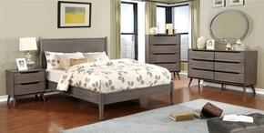 Lennart Collection CM7386GYQBEDSET 5 PC Bedroom Set with Queen Size Panel Bed + Dresser + Mirror + Chest + Nightstand in Grey Finish