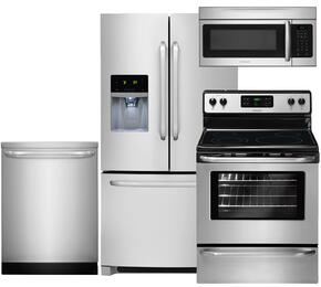 "4-Piece Stainless Steel Kitchen Package with FFHB2740PS 36"" French Door Refrigerator, FFEF3048LS 30"" Electric Range, FFID2423RS 24"" Full Console Dishwasher and FFMV164LS 30"" Over the Range Microwave"