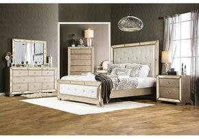 Loraine Collection CM7195KBDMCN 5-Piece Bedroom Set with King Bed, Dresser, Mirror, Chest and Nightstand in Silver Finish