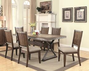 Beckett Collection 107011TC 7 PC Dining Room Sets with Dining Table + 6 Side Chairs in Natural Mango Finish