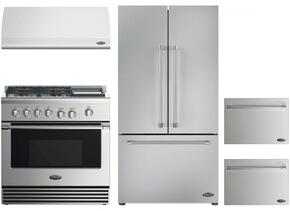 "4 Piece Kitchen Package With RDV2364GDL 36"" Dual Fuel Freestanding Range, ES36 36"" Wall Mount Hood, RF201ACJSX1 36"" Built In French Door Refrigerator and two DD24SV2T7 24"" Dishwasher Drawers in Stainless Steel"